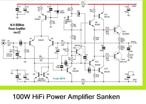 sanken transistor power lifier 100w hifi power lifier circuit with sanken electronic circuit