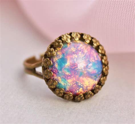 vintage opal ring harlequin glass opal adjustable ring