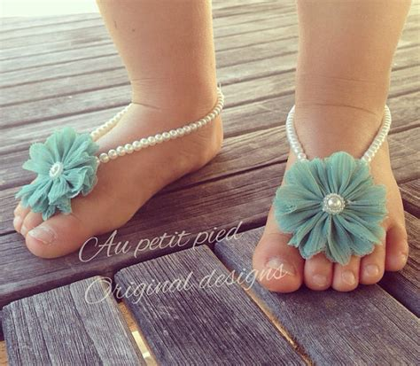 teal flower shoes baby barefoot sandals teal flower baby blue baby gift