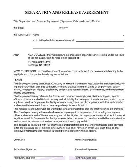 separation agreement form basic agreement form