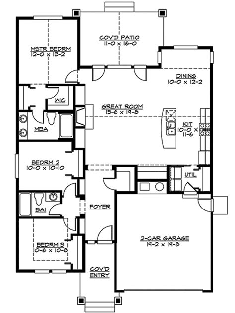single story house floor plans plan w69022am northwest northwest style house plans 1488 square foot home 1