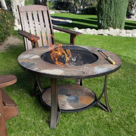 "34"" Round Slate Wood Burning Fire Pit Table Grate Spark"