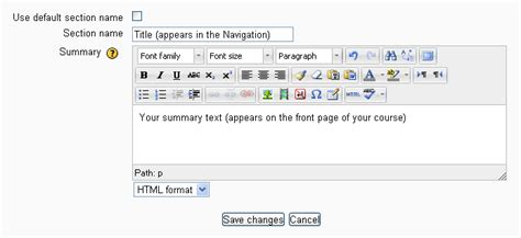 Section Title by Section Summary Moodledocs