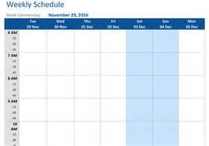 november 2016 weekly schedule template word pdf
