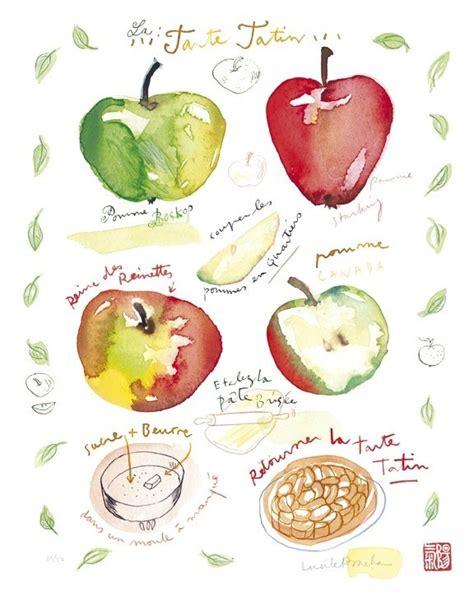 printable apple recipes apple pie recipe kitchen art print french cake watercolour
