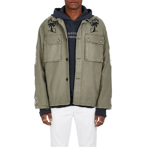 Green Canvas Blazer Ks 42 lyst ksubi placebo army distressed cotton canvas jacket in green for