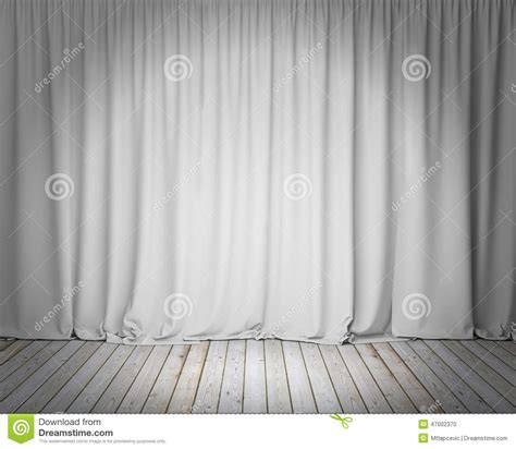 White Stage Curtain With Wooden Floor, Background Stock Illustration Image: 47002370