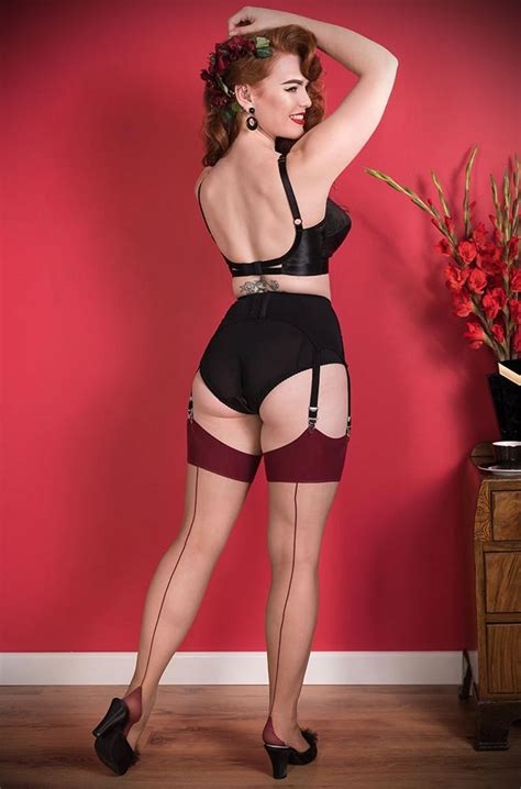 katie  nutmeg claret seamed stockings  deadly