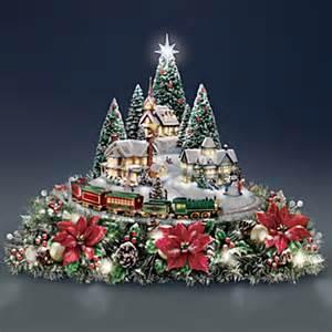 thomas kinkade christmas village centerpiece with lights