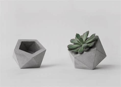 Small Concrete Planters by Frauklarer Icosahedron Planter In Small Small By Frauklarer