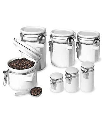 contemporary kitchen canisters white canisters wood set of 4 oggi food storage containers 7 piece set ceramic