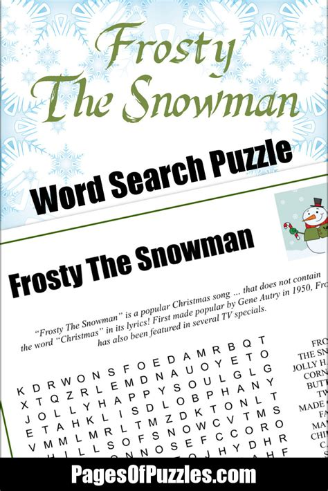 printable lyrics database frosty the snowman word search pages of puzzles