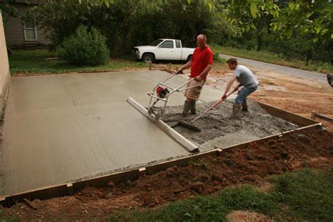 pouring garage floor