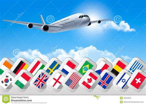Flags Of The World X Plane | airplane travel background with flags of different