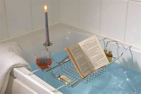 Bathtub Caddy With Book Holder by Bath Caddy With Wine Glass Candle Book Holder