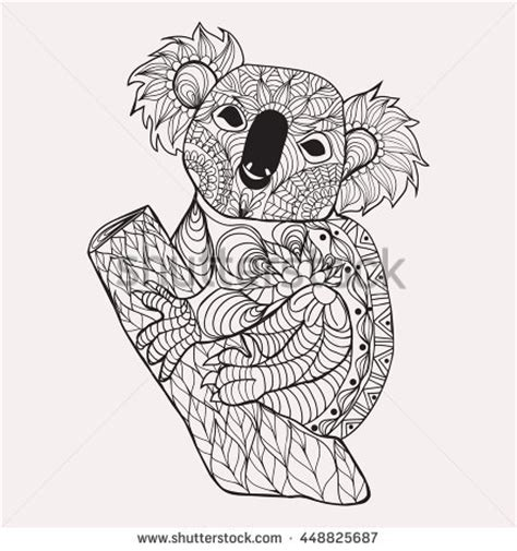koala adults coloring book stress relief coloring book for grown ups books teddy stock vector 89265958