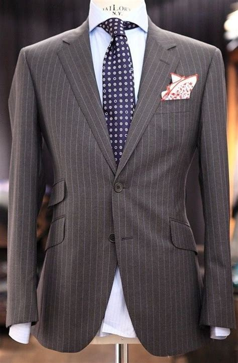 pattern shirt with dark gray suit grey pinstripe suit light blue striped shirt purple tie