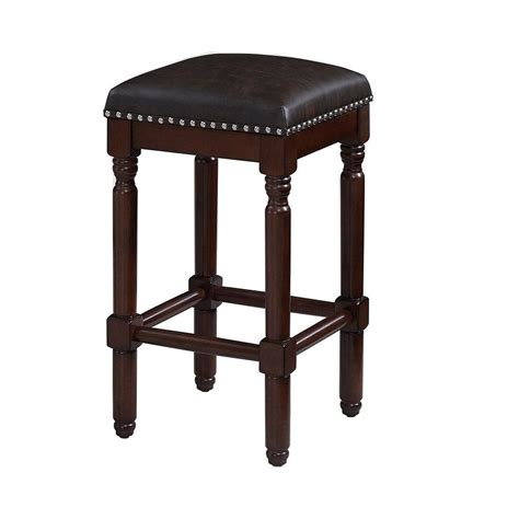 Cherry Backless Counter Stools by Linon Home Decor Claridge 26 In Brown Cushioned