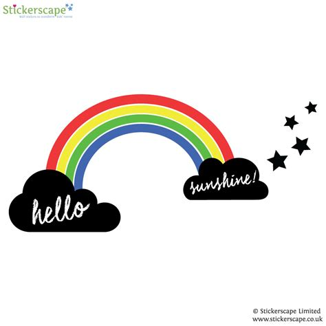 rainbow wall stickers uk rainbow and chalkboard clouds wall sticker set