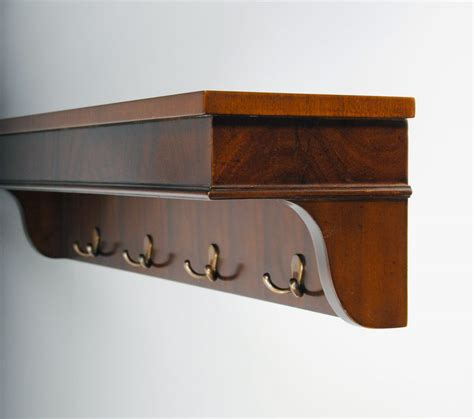 Wall Coat Rack Shelf by 36 Inch Solid Mahogany Wall Mount Hanging Coat Rack Shelf