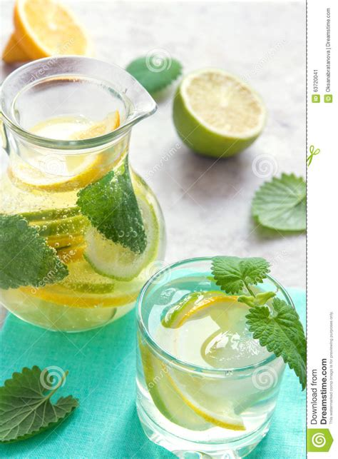 Detox Water With Lemon Lime And Mint by Detox Water With Lime Lemon And Mint Stock Photo Image