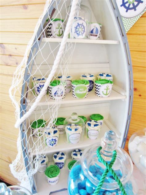 sailboat themed baby shower decorations green blue chevron nautical baby shower ideas