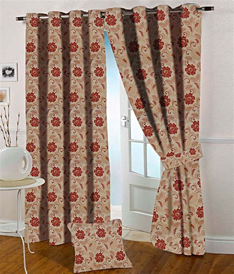 red and tan curtains presto red and beige floral polyester door curtain buy