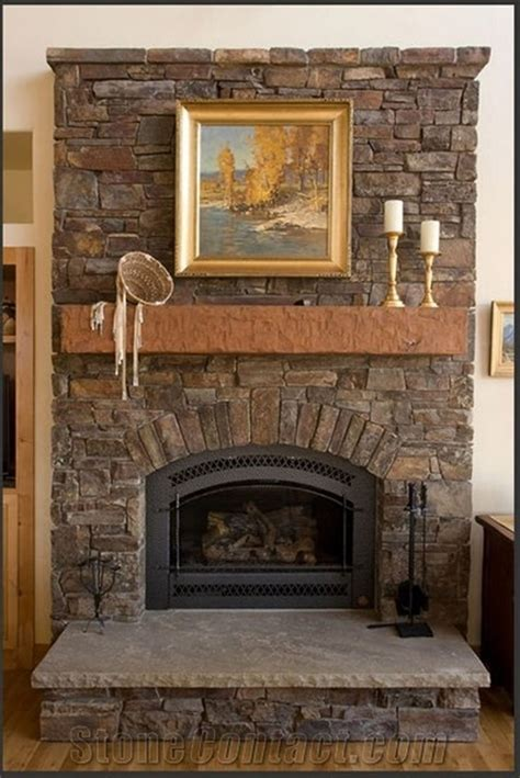 rustic stone fireplaces rustic stone fireplace with brown mantel shelf and grey