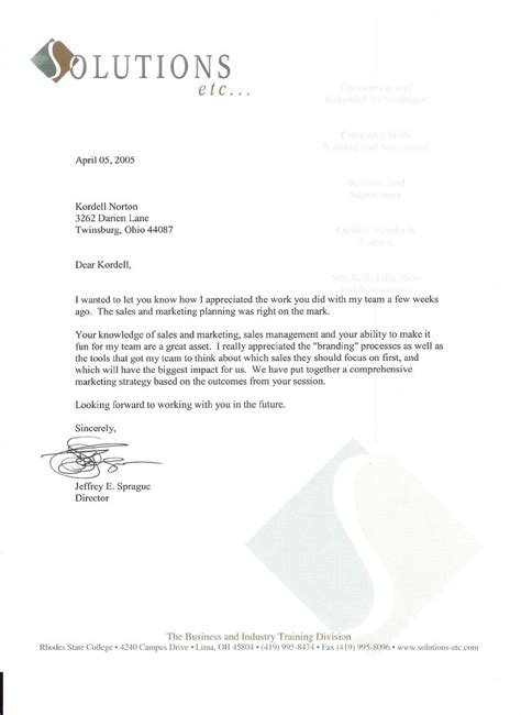 Recommendation Letter For College Sles Reference Letter For Kordell Norton As A Facilitator Of Sales
