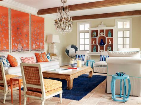 orange and blue living room decor blue foo dogs eclectic living room moss photography