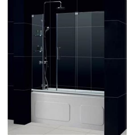 dreamline mirage 60 in x 58 in frameless sliding tub