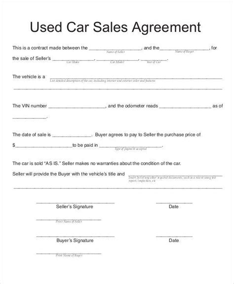 sales contract agreement template auto sales contract agreement templates resume
