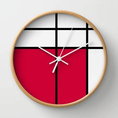 creative wall clock clock designs gorgeous graphic design mondrian 2 red wall clock by gorgeous graphic design 30 00