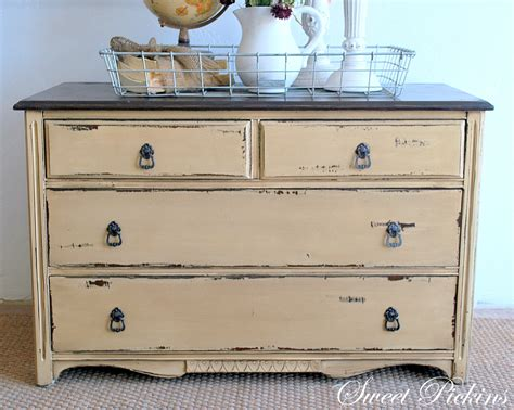 How To Paint White Distressed Furniture by Before After Small Dresser Sweet Pickins Furniture