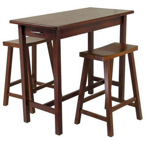winsome 174 3 pc kitchen island table with 2 saddle stools