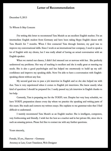 Recommendation Letter Germany Credentials And Student Reviews