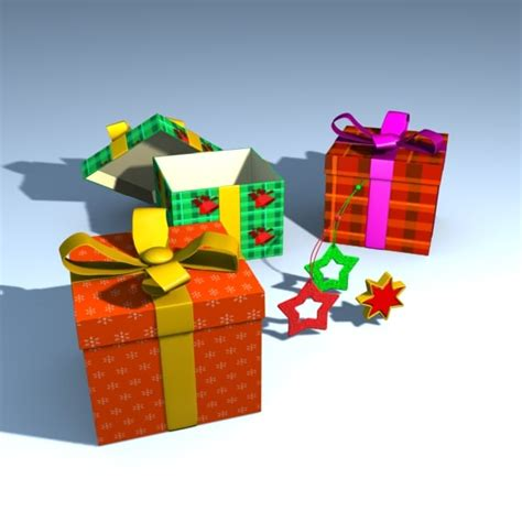 3d model of christmas set box gift