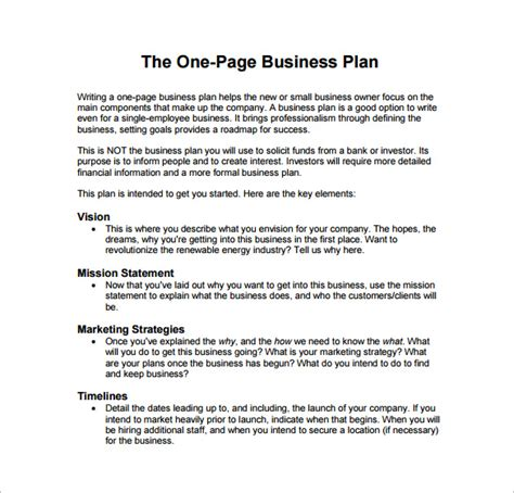 business strategy templates one page business plan exle pdf template free