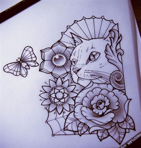 tattoo flower cat cat and flowers tattoo tattoos are for sailors pinterest