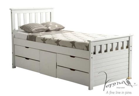 Wooden Single Bed With Drawers by Verona Ferrara 3ft 90cm X 190cm Single White 4 Drawer