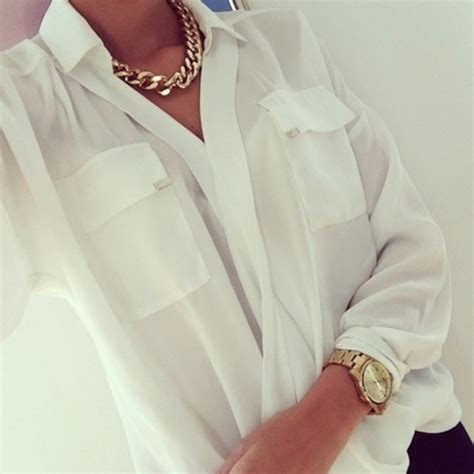 Neackless Chain Blouse blouse white white blouse shirt white t shirt front pockets pockets jewels