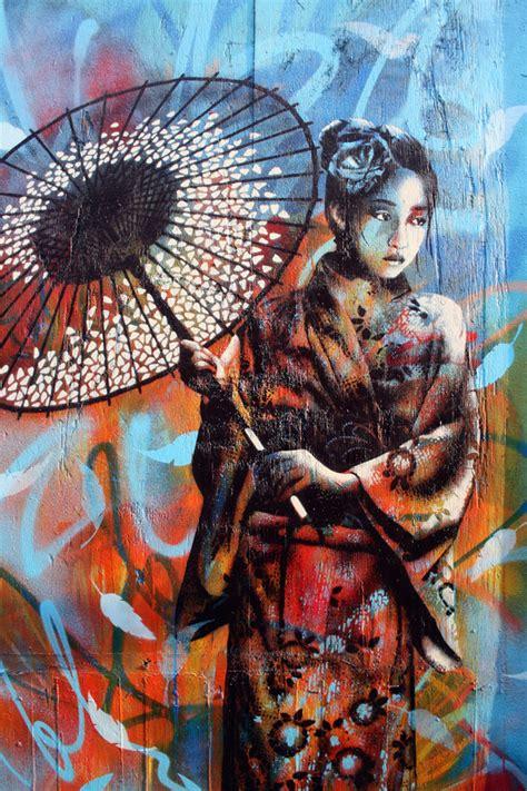 fragile geisha girl street mural