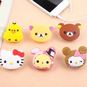 Cable Cord Holder Rilakkuma Hello Kity Centimental Circus Pengikatjepit Kabel Pembatas Buku Hello Rilakkuma Silicone Earphone Winder Holder