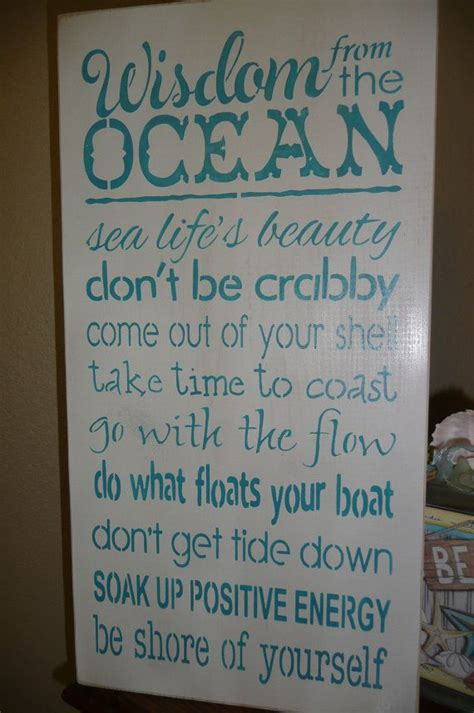 Wisdom from the ocean hand painted wood sign wall decor ocean quotes sea inspiring unique