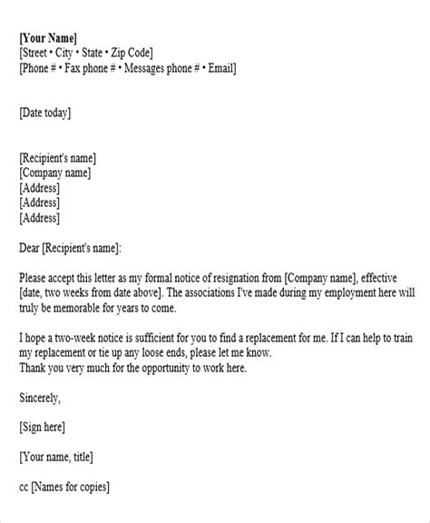 corporate resignation letter templates 9 free word pdf