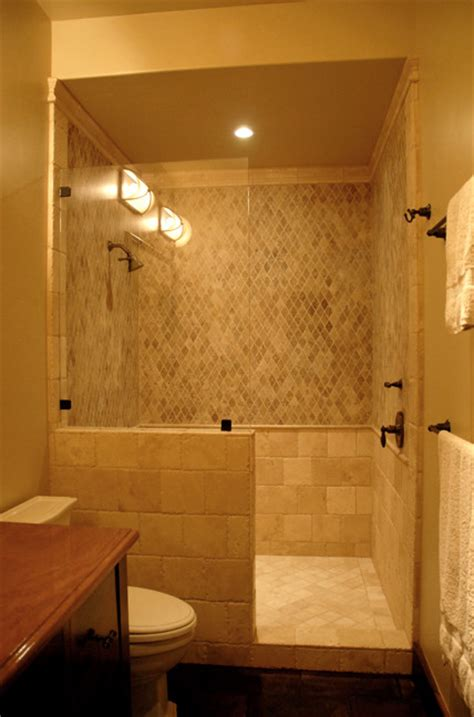 doorless and modern bathroom shower design and decorating with single shower head for small