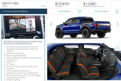 Configure Your 2017 Ford Raptor   Fully Loaded at $72,870