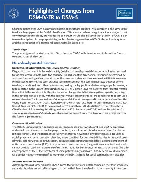 Dsm 5 Section 1 by Dsm 5 Changes Apa 2013 Highlighted Changes From The Dsm