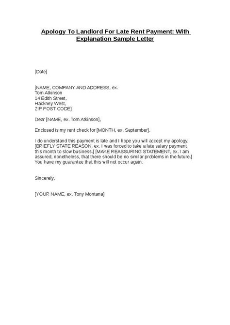 Rent Statement Letter Template apology to landlord for late rent payment with
