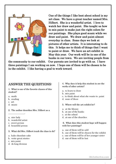 reading comprehension tests y4 reading comprehension for beginner and elementary students